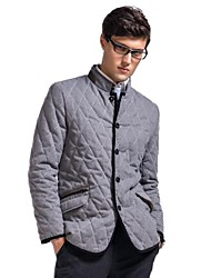 Lesmart® Men's Diamond Lattice Collar Padded Cotton Jacket Retro Fashion men's Warm Jacket