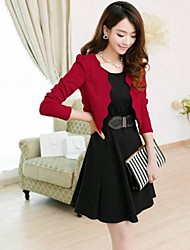 Women's Work Dress,Color Block Above Knee Long Sleeve Red / Black / Yellow Polyester / Others All Seasons