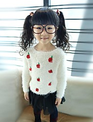 Girl's Comfortable Apple Embroidery Round Collar Knitting Sweater