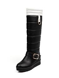 altas botas de los zapatos de tacón bajo las botas de nieve de la rodilla de la mujer con hebilla más colores disponibles