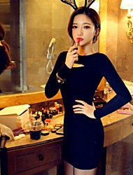Women's Crew Neck Mini Dress , Knitwear/Polyester Black Bodycon/Casual