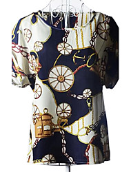 Women's Print Shirt , Round Neck Short Sleeve