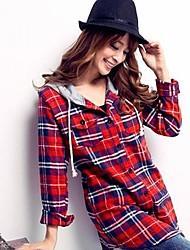 Camicia Da donna A quadri Con cappuccio Manica lunga