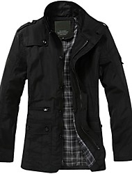 Men's Turn-down Collar Long Sleeves Solid Color Single Breasted Trench Coat More Colors available