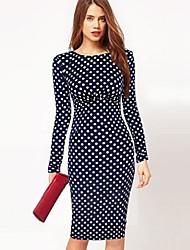 Women's A-Line Polka Dots Bodycom Long Sleeve Dress