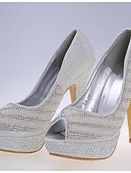 Feminino Wedding Shoes Saltos/Peep Toe Saltos Casamento/Social/Festas & Noite Branco