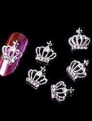 5pcs 3d prata coroa decorações de arte strass liga nail art nail jóias