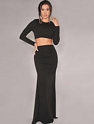 Women's Casual Long Sleeve Suit (Shirt & Skirt)