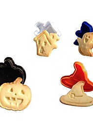 4pcs Set 3D Halloween Cake Cookie Cutter Plunger Fondant Mould Sugarcraft Modeling Tools