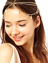 Set Auger Chain Leaves Multilayer Tassel Hair Band