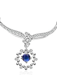 Cremation jewelry 925 Sterling Silver Flower Shape with Blue Zircon Pendant Necklace for Women (