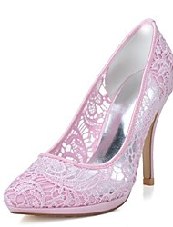 Women's Spring / Summer / Fall Heels / Pointed Toe Lace Wedding / Party & Evening Stiletto Heel Black / Pink / Ivory / White