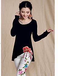 ts étnico chino impresión floral del estilo y teñido mangas murciélago T tapas de la camisa