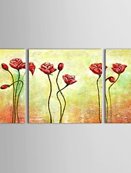 Hand Painted Oil Painting Floral  Romantic Flowers with Stretched Frame Set of 3