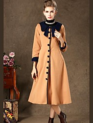 Women's  Retro Style Single-Breasted Navy Solid Color Bow Waist Was Thin  Pocket Longer Section Woolen Coat