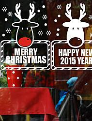 "Merry Christmas Lovely Reindeer Portraits Window Sticker (19.68""W × 11.76""L)"