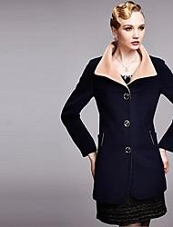 lapela moda elegante casaco de lã de trincheira das mulheres
