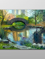 Hand Painted Oil Painting Landscape Central Park - New York City by Hall Groat II with Stretched Frame