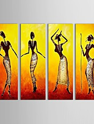Hand-Painted People Four Panels Canvas Oil Painting For Home Decoration