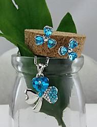 mode collier et boucles d'oreilles pendentif trèfle contracté ensemble de bijoux