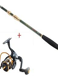 2.1 carbón de la barra verde de mar pesca medio pesca carrete de pesca negro + 8bb yb2000 5.1: 1 de spinning carretes de pesca