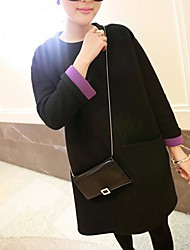 vestido de maternidad de tweed de color de contraste cuello redondo de las mujeres