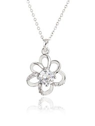 Women's Flower Design Zircon 18K Gold Plating Pendant  Necklace