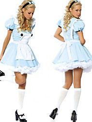 Cosplay Kostüme / Party Kostüme Märchen Fest/Feiertage Halloween Kostüme Blau Patchwork Kleid Halloween / Karneval Frau Polyester