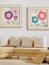 Framed Canvas Art, Bright Flowers Framed Canvas Print Set of 2