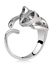 Qianzi Women's Rhinestone Temperament Cat Rings