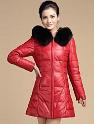 Women Faux Fur/Goatskin Outerwear , Belt Included/Hoodie