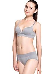Women's Basic Seamless Healthy Wireless Push Up Bra & Panty Set