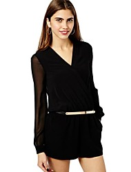 Women's Black Jumpsuits , Casual/Work Long Sleeve