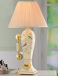 HOSHINE® Birds& Flowers Table Lamp With Telephone Function 1 Light Pastoral Style Resin