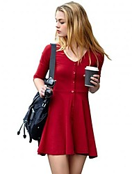 Women's Going out A Line Dress,Solid V Neck Mini ¾ Sleeve Red / Black Spring / Summer / Fall / Winter