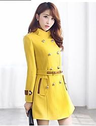 Women 's   European Fashion   Solid Color Wool Blends Plus Sizes Long Coat