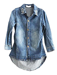 Girl's Blue Jacket & Coat,Solid Polyester / Cotton Blend Spring / Fall