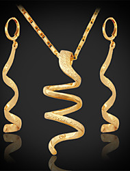 neue Frauen lange Tropfen danglependant Ohrringe 18k klobigen vergoldete Halskette