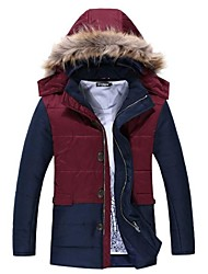 Men's Regular Parka Coat , Cotton Long Sleeve