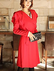 Women's Red Ruffles Trench Coat