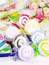 presente de aniversário pirulito forma de fibra toalha criativo (cor aleatória)