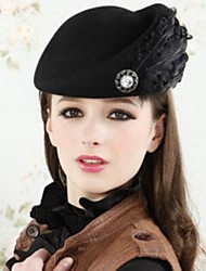 Women 's High Quality Black Feather Decoration Wool Beret