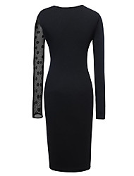 Dolce Women's Fitted Mesh Splicing Pencil Dress