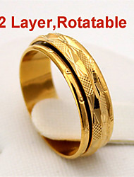 New Cool 2 Layers Rotatable Midi Ring 18K Chunky Gold Plated  High Quality Jewelry Gift for Women Men