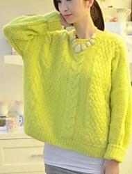 Women's Outer Wear Hemp Flowers Knitted Loose Sleeve Head Sweater