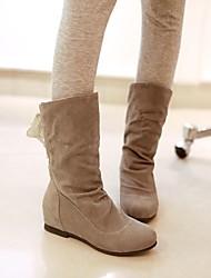 Damenschuhe runde Kappe Keilabsatz Knöchel / Mitte der Wade Stiefel mit Spitzen-up (zwei Möglichkeiten zur Verfügung)