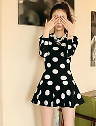 Women's Sweet Polka Dots Ruffles Mini Dress