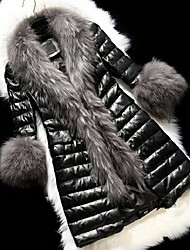 Women's Fur Collar Leather Jacket Winter Fur Coat