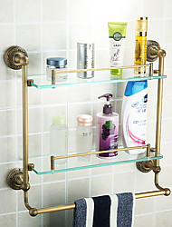 Double Bathroom Shelves,Antique Brass Color Aluminium Material,Bathroom Accessory
