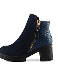 Women's Shoes Leather Spring / Fall / Winter Platform / Round Toe / Fashion Boots Boots Dress Chunky Heel Zipper Black / Blue / White